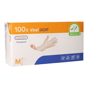 """Medi-Inn®"" Vinyl Handschuhe, gepudert, ""Light"", transparent, Größe M - Bild 1"