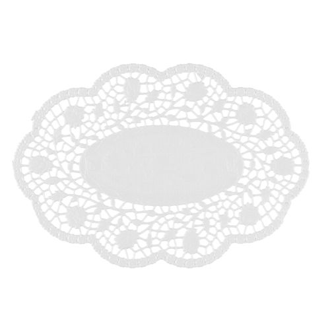 Mokkadeckchen oval 24 x 16,5 cm weiss - Bild 1